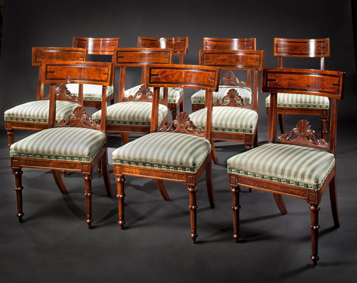 Set Of Ten Assembled Carved Mahogany Dining Chairs Circa 1835  # Thomas Hope Muebles