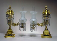 L-012178 Pair of Bright and Matte Lacquered Brass Argands by Cornelius