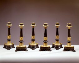 L-Set of Six Restauration Gilt-Bronze Candle Sticks