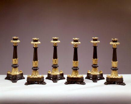 L-Set of Six Restauration Gilt-Bronze Candle Sticks