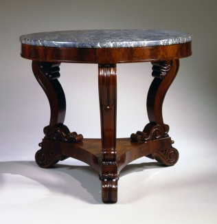 T-C-002162 Boston Mahogany Restauration Gueridon with Egyptian Marble Top