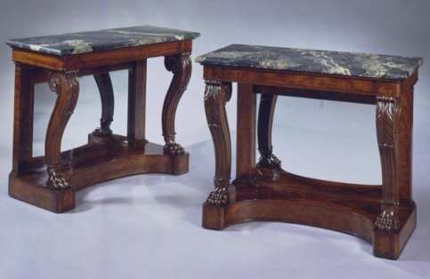 T-P-0210021 Pr Boston Restauration Pier Tables with Paw Feet