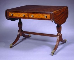 T-S-005021 Phyfe Mahogany Sofa Table with Brass Paw Casters